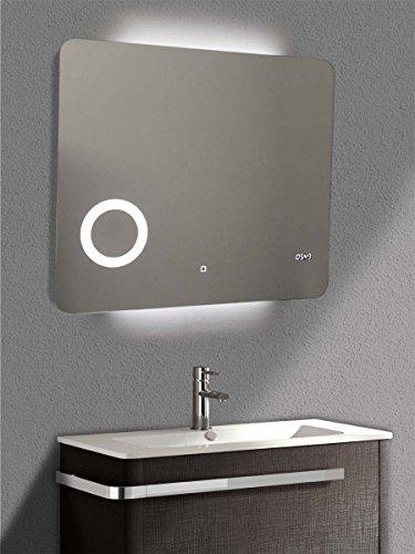 Yellowshop - Specchio Specchiera Cm L.80 x H.70 A Luce LED Retroilluminato Filo Muro Bagno Design Moderno con Touch Modello Zoom 87