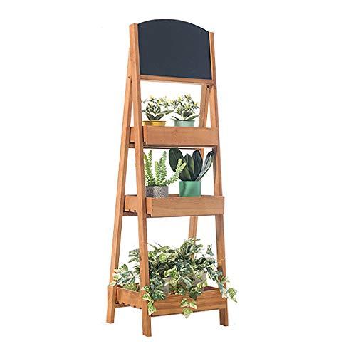 Estante de Madera Para Flores, Estante de Escalera de Madera, Con Soporte Para Plantas de Pizarra Sala de Estar Tipo de Piso Soporte Para Plantas de Múltiples Capas Estante de Almacenamiento Para Ba