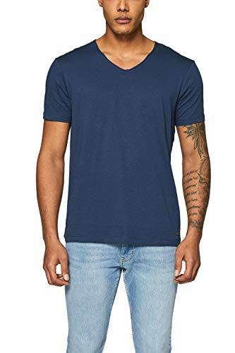 edc by ESPRIT Herren 998CC2K800 T-Shirt, Blau (Navy 400), Small (Herstellergröße: S)