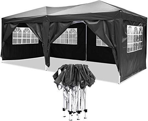LIUTAO Tienda de campaña al Aire Libre Tienda 3 x 6m Gazebo Carpa Carpa Gazebo Impermeable emergente con Lados Toldo al Aire Libre Toldo Toldo Carpa para Fiestas en el jardín - Llevar-Negro