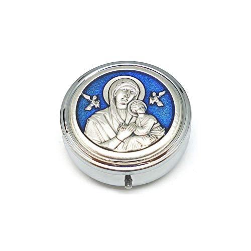 DELL'ARTE Artículos religiosos - Pastillero de 5,2 cm, esmaltado, Virgen del Perpetuo Soccurso