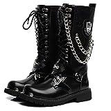 MERRYHE Hombre Botas Altas Martin Boots Cadena De Encaje Ejército Botas De Combate del Desierto Militar Seguridad Tactical Shoes Black Special Forces Patrulla Boots,Black-44