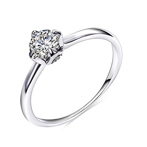 Aienid Damen Ring Versilbert Jubiläumsringe für Frauen Nugget Form Hochzeit Band Größe:54 (17.2)