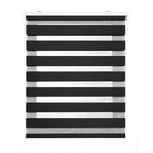 Stores Deco Estor Noche y Día, Estor Enrollable con Doble Tejido para Ventanas y Puertas (Gris, 80 cm x 180 cm)