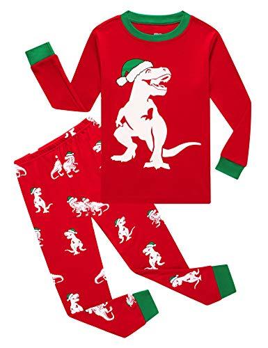 Christmas Dinosaur Little Boys Long Sleeve Pajamas 100% Cotton Red Glow in The Dark Sleepwears Size 6