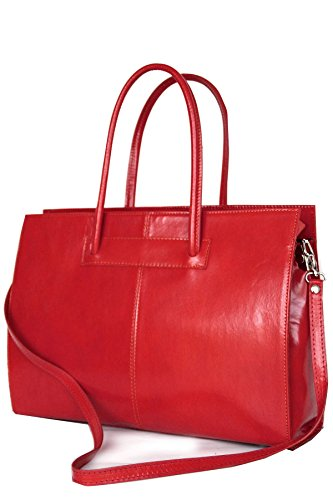 Leather business / file / laptop bag with shoulder strap Italy Mod.2026-2 red