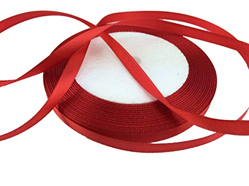"""Solid Color Satin Ribbon 1/4"""",25yds (red)"""