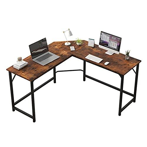 Escritorio de estudio para niños, escritorio de esquina, grande, para casa, oficina, escritorio, portátil, mesa de estudio de trabajo simple en forma de L, marco de metal estable