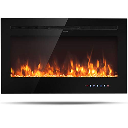 """Tangkula 36"""" Electric Fireplace, in-Wall Recessed and Wall Mounted 750 W / 1500 W Fireplace Heater, Touch Screen Control Panel, 9 Flamer Color, Temperature Control & Timer Crystal Heater (36 inches)"""