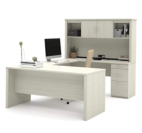 Bestar, Logan Collection, Executive U or L-Shaped Office Desk with Pedestal and Hutch