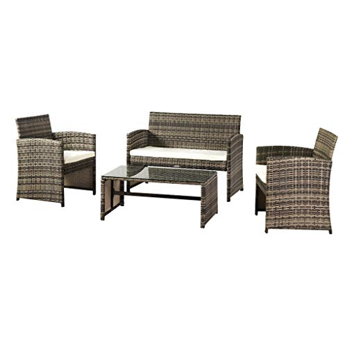 Outdoor Sofa with Coffee Table Rattan Garden Conversation Set Cushioned Steel Patio Furniture, Grey