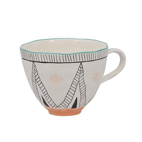 Tranquillo Tasse Margitta für Kaffee oder Tee. Steingut, 9(Höhe) x 11 x 4 cm
