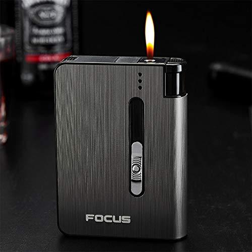 Landia Caja de cigarrillo automático para hombre, 10 unidades de capacidad de metal más ligero regalo para fumar
