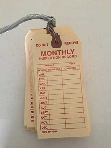 Brooks Wired Monthly Inspection tag 50 Pack