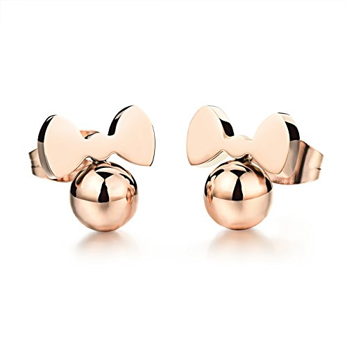 Destino Amor joyas Cute Rosa Chapado en oro Little ratón Stud Pendientes para niñas Mujeres, hipoalergénico