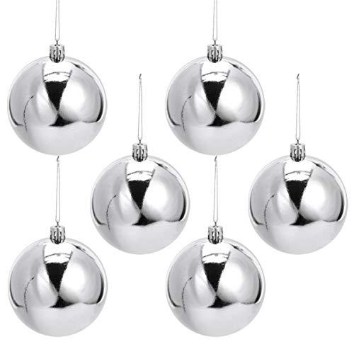 NUOBESTY 12pcs Siver Christmas Tree Balls Xmas Ball Ornaments Plastic Shatterproof Baubles Hanging Holiday Balls for Wedding Christmas Decor