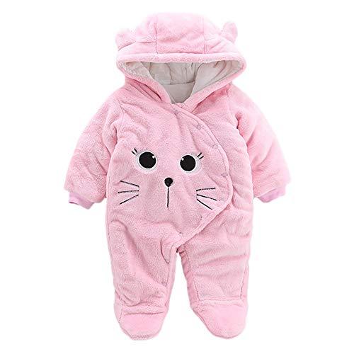 Zhen+ Unisex Baby Plüsch-Overall für 0-12 Monate Junge Mädchen SAMT-Jumpsuit Strampler Cartoon Kat Bodysuit Säugling Spielanzug Schlafanzug Outfit...