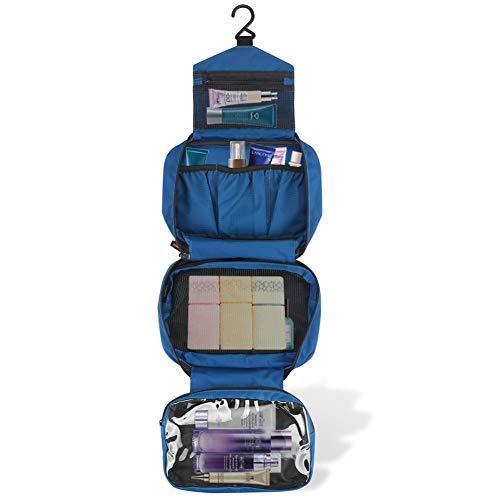 Jiemei - Bolsa de Aseo Colgante con 2 Perchas portátiles (Regalos), Bolsa de Viaje para Hombres y Mujeres con 4 Compartimentos, tamaño Compacto Plegable, Cremallera Azul Azul Real