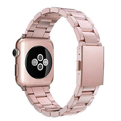 Simpeak Cinturino Compatibile per Apple Watch 42mm 44mm in Acciaio Inossidabile,Fibbia di Metallo Compatibile con Apple Watch 42mm di Series 1/2/3/4/5 Versione 2015 2016 2017 2018,Rosa Oro