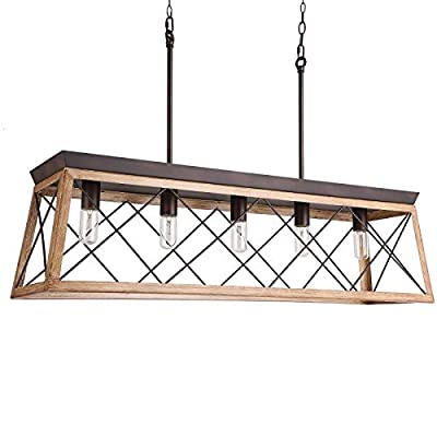 Industrial Five-Light Farmhouse Linear Pendant Light Hanging Ceiling Fixture Light Adjustable Height Chandeliers for Kitchen, Dining Room