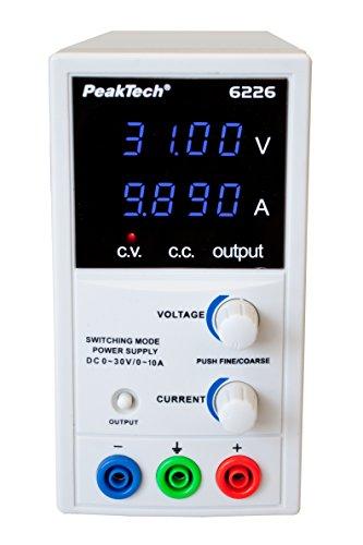 PeakTech 6226 – Labornetzteil 0-30V/ 0-10A, Regelbar, Labornetzgerät DC mit Blauer 4-Stelliger Anzeige, Stabilisiertes Schaltnetzteil, Überlast- und Kurzschlussfest, schmale Bauform