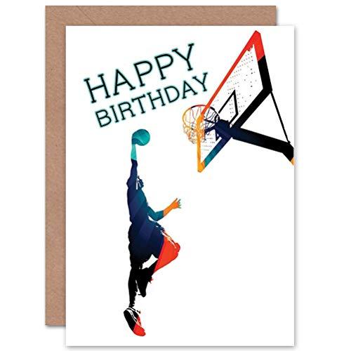 Wee Blue Coo Basketball Birthday - Slam Dunk Sealed Greeting Card Plus Envelope Blank Inside