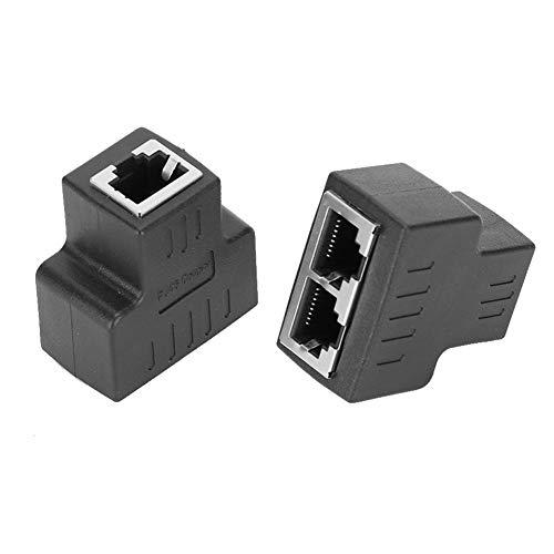 Topiky Ethernet-Koppler, 2PCs Ethernet-Kabeladapter 1-in 2-Out RJ45-Buchse LAN-Anschlusskabel Extender Split kompatibel mit ADSL, Hubs, Switches, Fernsehgeräten, Set-Top-Boxen usw.(Schwarz)