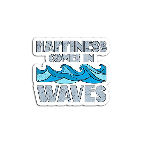 Christmas Decal Stickers for Laptop Sticker for Tumblers Happiness Comes in Waves Cool Vintage Surfer Surf Waterproof Decal Perfect for Phone Water Bottle Vehicles (5 Pcs/Pack)