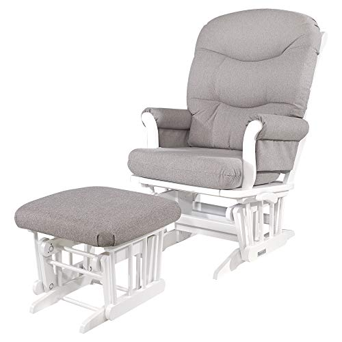 Dutailier Sleigh Glider-Multiposition, Recline and Ottoman Combo, WHITE FRAME/LIGHT GREY CUSHION