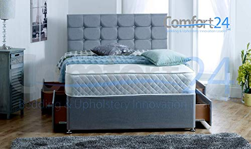 ComfoRest, Bedding & Upholstery Innovation Leader Comfort24 Ltd Grey Fabric Divan Bed With Mattress, 4 Drawers And 24' Cube Design Headboard (4FT6 (Double))