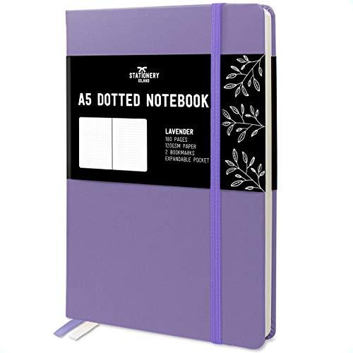 Stationery Island Cuaderno Punteado A5 – Lavanda. Bullet Journal de Tapa Dura Con 180 Páginas y Papel Premium de 120gsm. Para Notas, Planificación, Estudio, Viajes, Diario y Proyectos