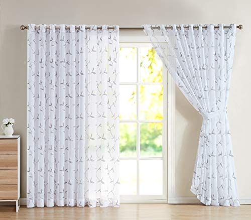 """LinenZone - Maria - Embroidered Semi Sheer Curtains With Grommets - 2 Wall-to-Wall Curtain Panels - 99"""" Long - Total Size 216 Inch Wide - 108"""" Each Panel (2 Panels 108"""" W x 99"""" L, White - Charcoal)"""