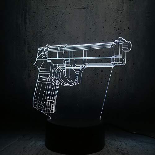 Modelo De Pistola 3D Led Luz De Noche, 7 Colores Lámpara De Decoración Cambio - Regalo Perfectos Para Niño, Ilusión Óptica,Lámpara,Luz Nocturna