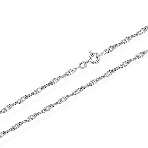 NKlaus echte 925er Sterlingsilber Silber Singapur Kette gedreht 42cm 1,80mm 2,1gr 5914