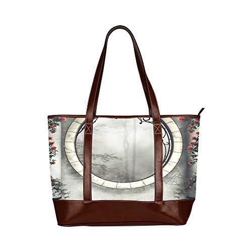 QIAOLII Gotische Fenster- und Marmorsäulen mit Rosen Einkaufstasche im Freien Einkaufstaschen für Mädchen mit großer Kapazität Bedruckte Tragetasche mit Reißverschluss