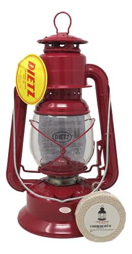 Light of Mine | Dietz Little Wizard # 30 Oil Burning Lantern | Kerosene Oil Lamp | Camping Lantern with Wick (Red)