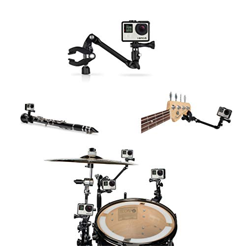 Hooshion The Jam Music Guitar Drum Mic Instrument Stand Mount Gooseneck Jaws Flex Clamp 360 Degree Rotation for GoPro Hero 8 7 6 5 4 3 Camera