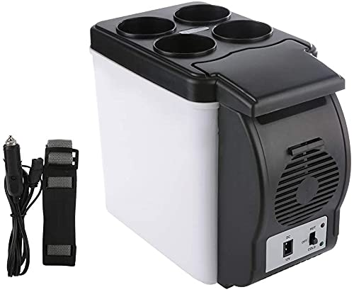 Mini Refrigerador de Coche de 12V 6L, Enfriador de Bebidas de Doble Uso, Congelador de Viaje Portátil Al Aire Libre ABS, Refrigerador Universal