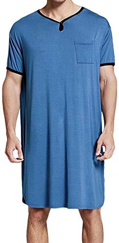 WSSCKT Camisón para Hombre, Cuello en V, Henley, Manga Corta, cómodo, Suelto, Ropa de Dormir con Bolsillo, camisón Liso, Pijama M-XXXL (Color : Blue, Size : Medium)