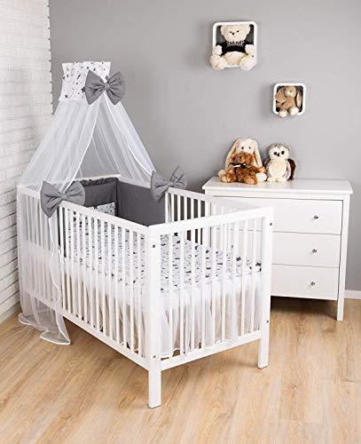 Amilian Baby Bettwäsche 7tlg Set mit Nestchen Kinderbettwäsche 100x135 Himmel Betthimmel Kinder Bettwäsche Babybettwäsche für Baby Gute Nacht Grau (Chiffonhimmel)