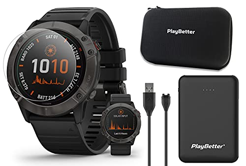 Garmin Fenix 6X Pro Solar (Gray DLC/Black Band) Power Bundle | With PlayBetter Portable Charger, HD Screen Protectors & Protective Hard Case | Multisport GPS Smartwatch | Solar Charging | 010-02157-20