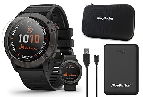 Garmin Fenix 6X Pro Solar (Gray DLC/Black Band) Power Bundle | With PlayBetter Portable Charger, HD Screen Protectors &...