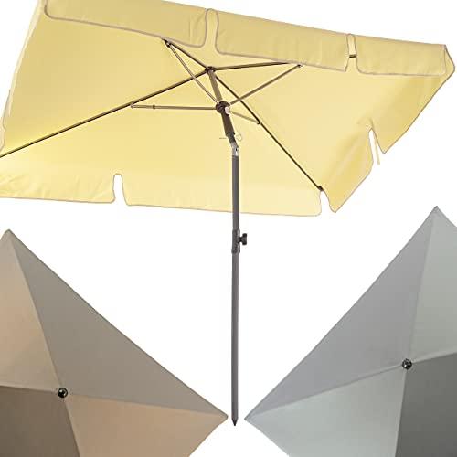 4smile Sonnenschirm Balkon SunnyShade – UV 50+ Balkon-Sonnenschirm rechteckig, 200x125cm, knickbar - sommerlich leicht in Fb. Creme - rechteckige Sonnenschirme als optimale Schattenspender