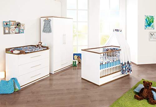 Pinolino Kinderzimmer Tuula weiß 3-teilig mit Kinderbett, Wickelkommode, Kleiderschrank