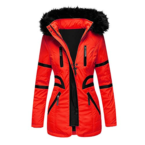 Women Warm Coat Jacket Outwear Faux Fur Lined Trench Winter Hooded Thick Overcoat URIBAKE