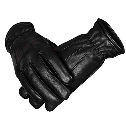 Herren Lederhandschuhe Fahren Polizei Thinsulate Kleid Winterhandschuhe für Männer (XL)