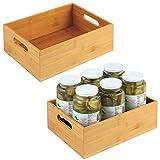 mDesign Caja organizadora ancha para cocina – Cajón de madera de bambú con asas integradas – Organizador de cocina abierto para guardar utensilios de cocina – Juego de 2 – color natural