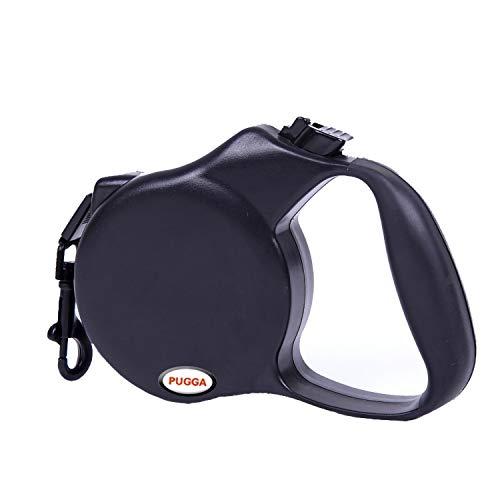 PUGGA - Guinzaglio Retrattile avvolgibile per Cani da 5 Metri di Taglia Medio Piccola con Freno e bloccaggio compreso moschettone e Sacchetto in Telo Non Tessuto Azzurro