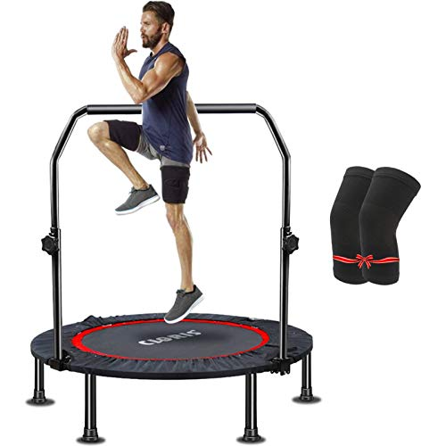 CLORIS 40' Foldable Fitness Trampoline - Max Load 400 lb , Mini Rebounder with Adjustable Foam Handle for Kids Adults Indoor/Outdoor Fitness Body Exercise (Black)