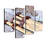 IGOONE 4 Panels Canvas Paintings - Wooden Gladius Swords Gladiators and Pictures - Wall Art Modern Posters Framed Ready to Hang for Home Wall Decor